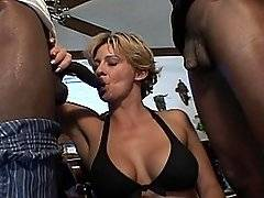 Busty blonde hottie Sheridan gets slammed with black cock